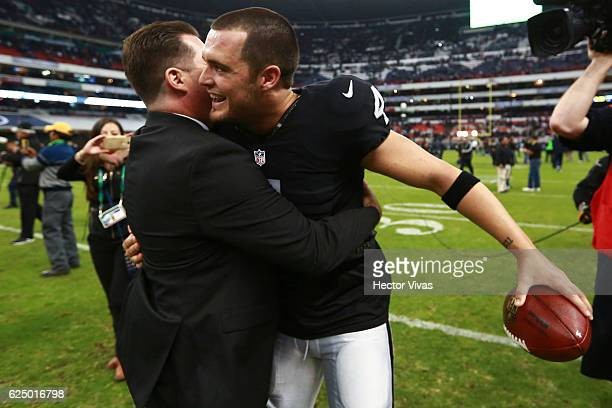 Derek Carr of Oakland Raiders celebrates after winning the NFL football game between Houston Texans and Oakland Raiders at Azteca Stadium on November...