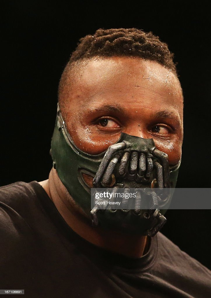 Derek Chisora wears a 'Bane' style mask prior to his International Heavyweight bout against Hector Avila at Wembley Arena on April 20, 2013 in London, England.