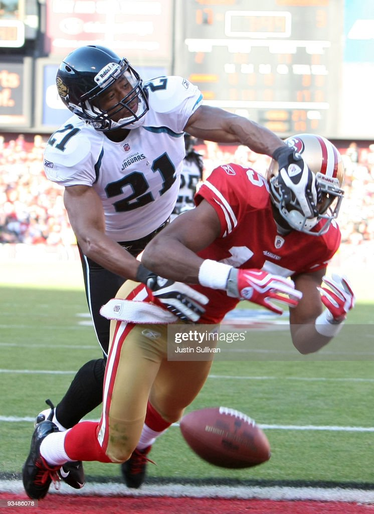 Derek Cox of the Jacksonville Jaguars breaks up a pass intended for Michael Crabtree of the San Francisco 49ers during the third quarter at...