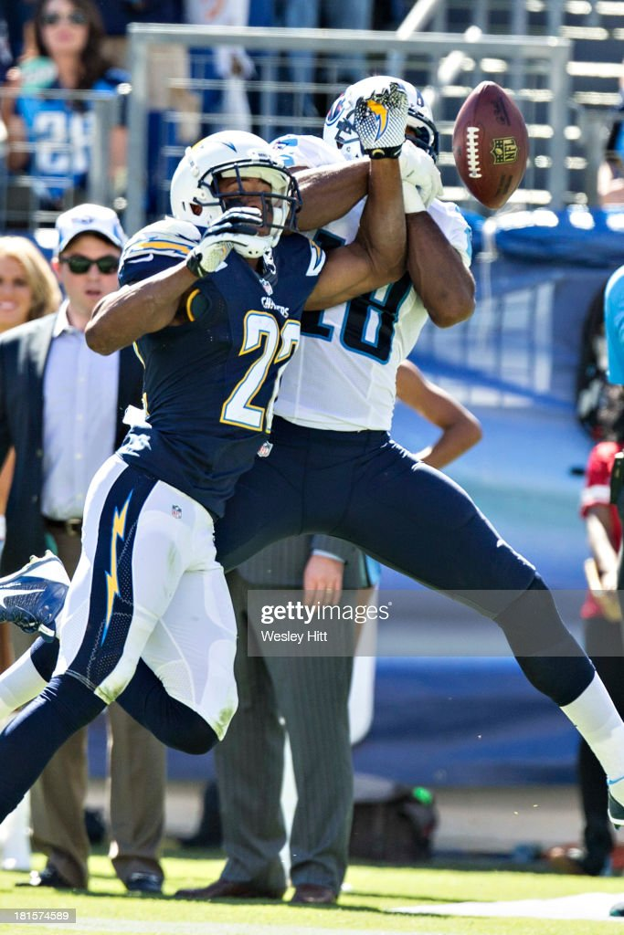 Derek Cox #22 of the San Diego Chargers breaks up a pass thrown to <a gi-track='captionPersonalityLinkClicked' href=/galleries/search?phrase=Kenny+Britt&family=editorial&specificpeople=469830 ng-click='$event.stopPropagation()'>Kenny Britt</a> #18 of the Tennessee Titans at LP Field on September 22, 2013 in Nashville, Tennessee. The Titans defeated the Chargers 20-17.