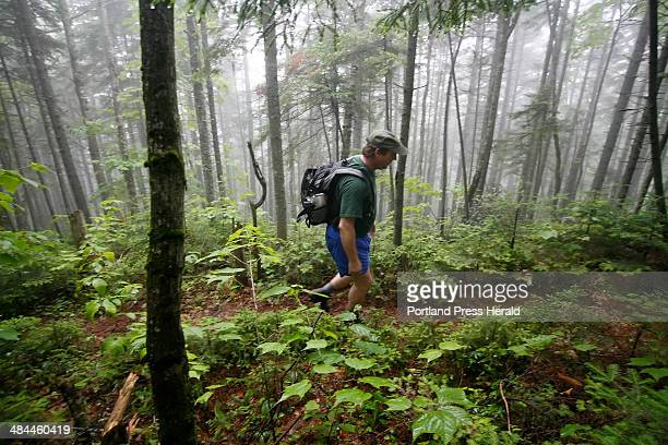 Rob Burbank public affairs director for the Appalachian Mountain Club hikes along the Appalachian Trail enroute to the summit of Chairback Mountain...