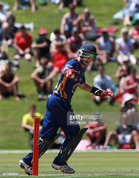 Derek de Boorder celebrates the wicket of James Franklin during the Otago Voltz V Wellington Firebirds HRV Cup match at the Queenstown Events Centre...