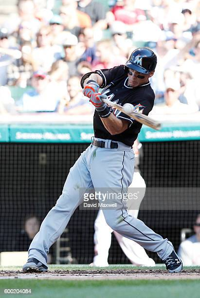 Derek Dietrich of the Miami Marlins bats against the Cleveland Indians in the second inning of their interleague game at Progressive Field on...