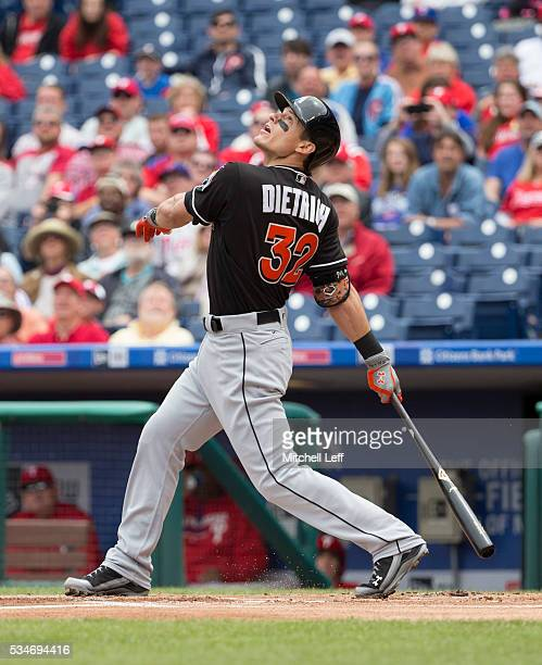 Derek Dietrich of the Miami Marlins bats against the Philadelphia Phillies at Citizens Bank Park on May 18 2016 in Philadelphia Pennsylvania