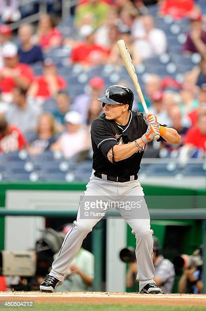 Derek Dietrich of the Miami Marlins bats against the Washington Nationals at Nationals Park on May 28 2014 in Washington DC