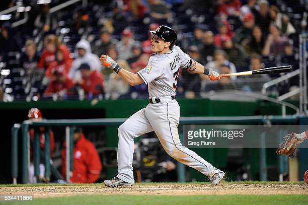 Derek Dietrich of the Miami Marlins bats against the Washington Nationals at Nationals Park on May 14 2016 in Washington DC