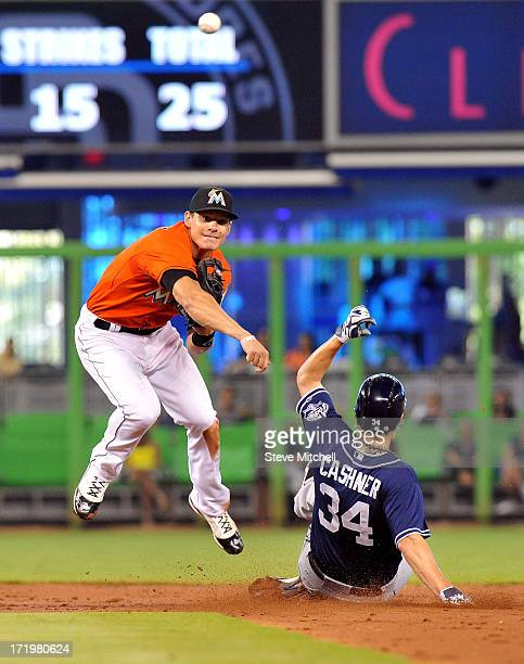 Derek Dietrich of the Miami Marlins forces out Andrew Cashner of the San Diego Padres at second base during the third inning at Marlins Park on June...