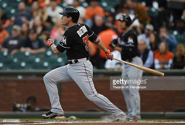 Derek Dietrich of the Miami Marlins hits a solo home run in the top of the first inning against the San Francisco Giants at ATT Park on May 15 2014...