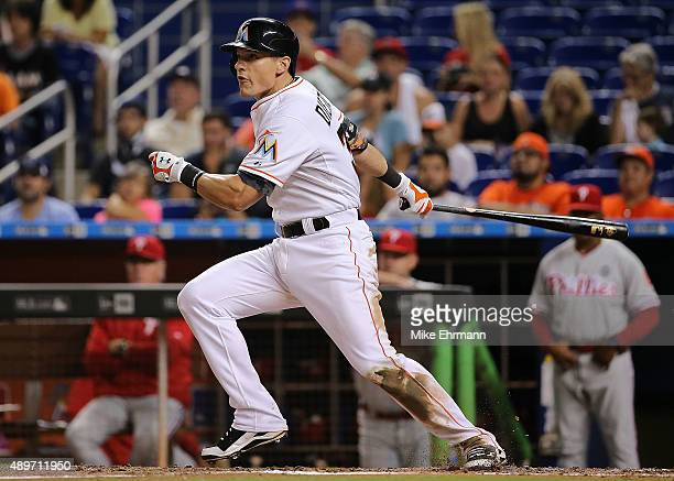 Derek Dietrich of the Miami Marlins hits during a game against the Philadelphia Phillies at Marlins Park on September 23 2015 in Miami Florida