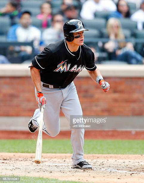 Derek Dietrich of the Miami Marlins in action against the New York Mets at Citi Field on April 27 2014 in the Flushing neighborhood of the Queens...