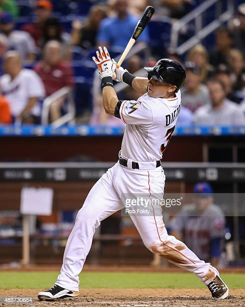 Derek Dietrich of the Miami Marlins in action during the game against the New York Mets at Marlins Park on August 4 2015 in Miami Florida
