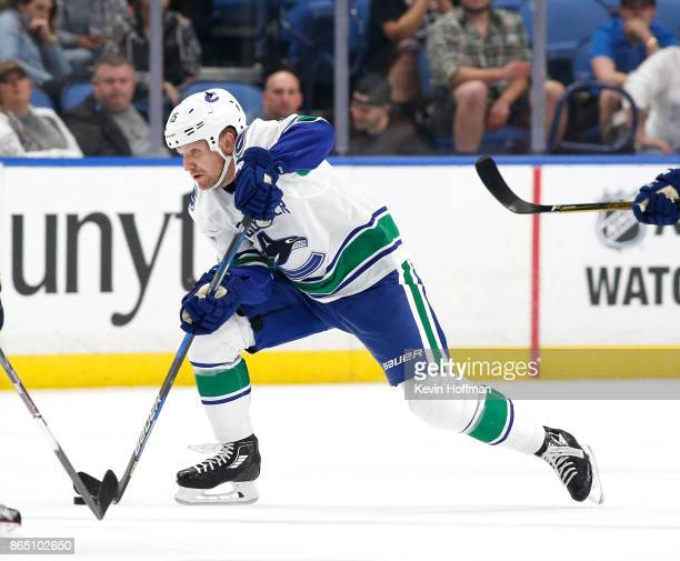 Derek Dorsett of the Vancouver Canucks during the game against the Buffalo Sabres at the KeyBank Center on October 20 2017 in Buffalo New York