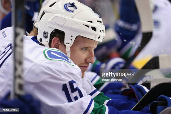 Derek Dorsett of the Vancouver Canucks prepares to skate against the New York Islanders at the Barclays Center on January 17 2016 in the Brooklyn...