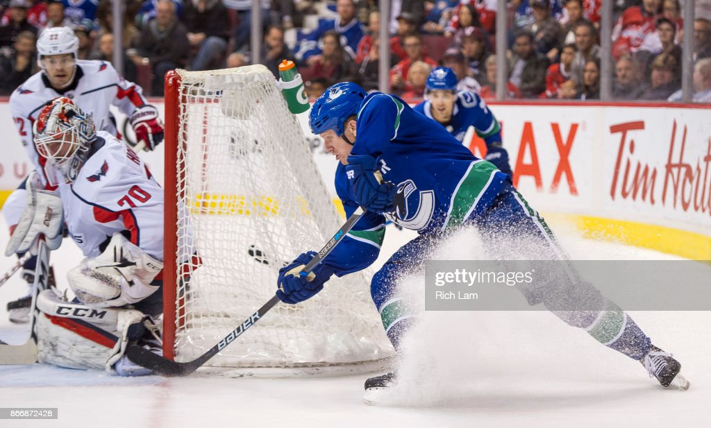 Derek Dorsett #15 of the Vancouver Canucks puts a backhand shot past goalie Braden Holtby #70 of the Washington Capitals for a goal in NHL action on October, 26, 2017 at Rogers Arena in Vancouver, British Columbia, Canada.