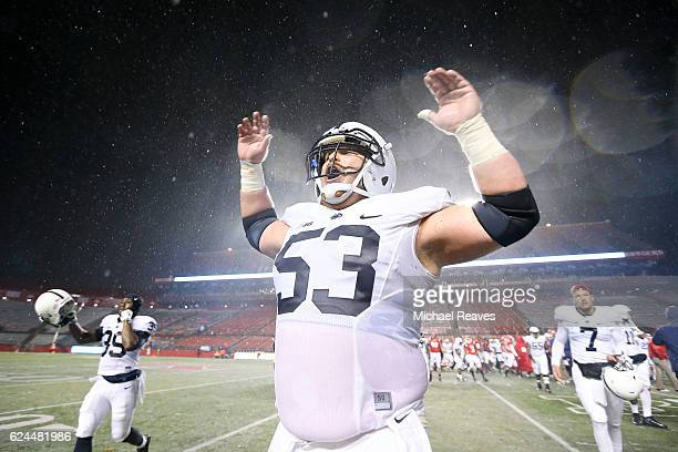 Derek Dowrey of the Penn State Nittany Lions celebrates after they defeated the Rutgers Scarlet Knights 390 at High Point Solutions Stadium on...