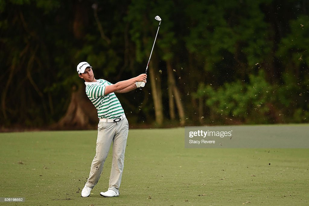 Derek Ernst hits his approach shot on the 16th hole during the second round of the Zurich Classic at TPC Louisiana on April 29, 2016 in Avondale, Louisiana.