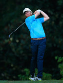 Derek Fathauer hits his drive on the 11th hole during the second round of the Chiquita Classic held at River Run Country Club on September 5 2014 in...