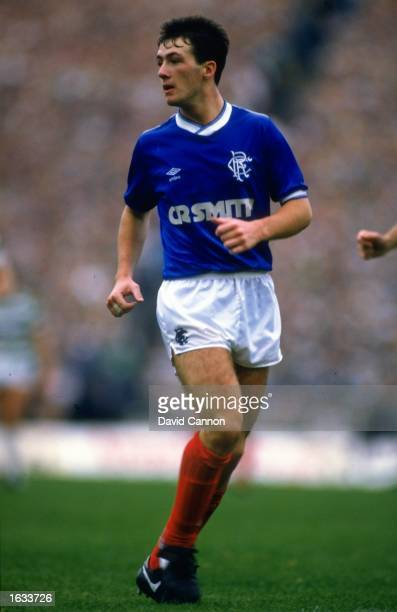 Derek Ferguson of Rangers keeps an eye on the ball during the Skol Cup final against Celtic at Hampden Park in Glasgow Scotland Rangers won the match...