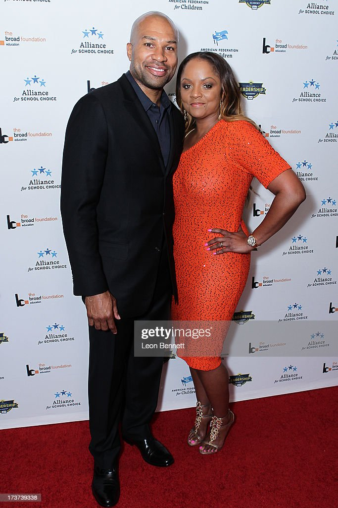 <a gi-track='captionPersonalityLinkClicked' href=/galleries/search?phrase=Derek+Fisher&family=editorial&specificpeople=201724 ng-click='$event.stopPropagation()'>Derek Fisher</a> and Candance Fisher attended The Champions For Choice In Education ESPYs Kickoff Cocktail Party at Ritz Carlton on July 16, 2013 in Los Angeles, California.