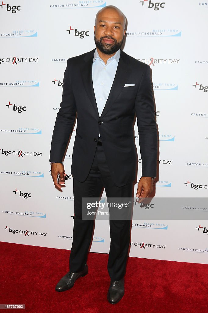 <a gi-track='captionPersonalityLinkClicked' href=/galleries/search?phrase=Derek+Fisher&family=editorial&specificpeople=201724 ng-click='$event.stopPropagation()'>Derek Fisher</a> attends Annual Charity Day hosted by Cantor Fitzgerald and BGC at BGC Partners, INC on September 11, 2015 in New York City.