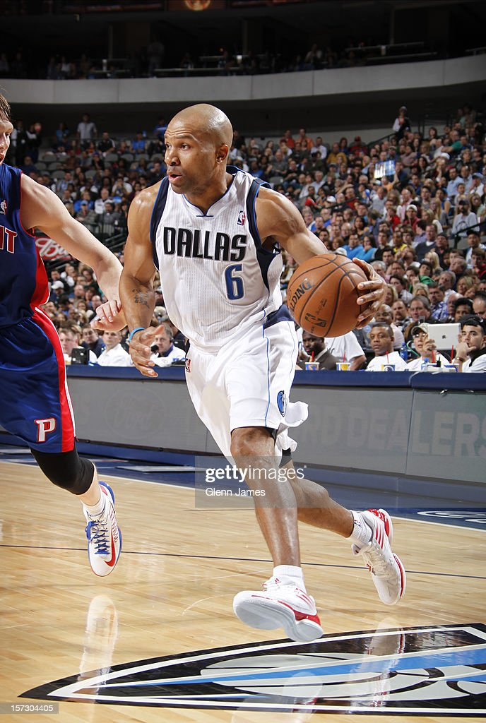 <a gi-track='captionPersonalityLinkClicked' href=/galleries/search?phrase=Derek+Fisher&family=editorial&specificpeople=201724 ng-click='$event.stopPropagation()'>Derek Fisher</a> #6 of the Dallas Mavericks drives against <a gi-track='captionPersonalityLinkClicked' href=/galleries/search?phrase=Kyle+Singler&family=editorial&specificpeople=4216029 ng-click='$event.stopPropagation()'>Kyle Singler</a> #25 of the Detroit Pistons on December 1, 2012 at the American Airlines Center in Dallas, Texas.
