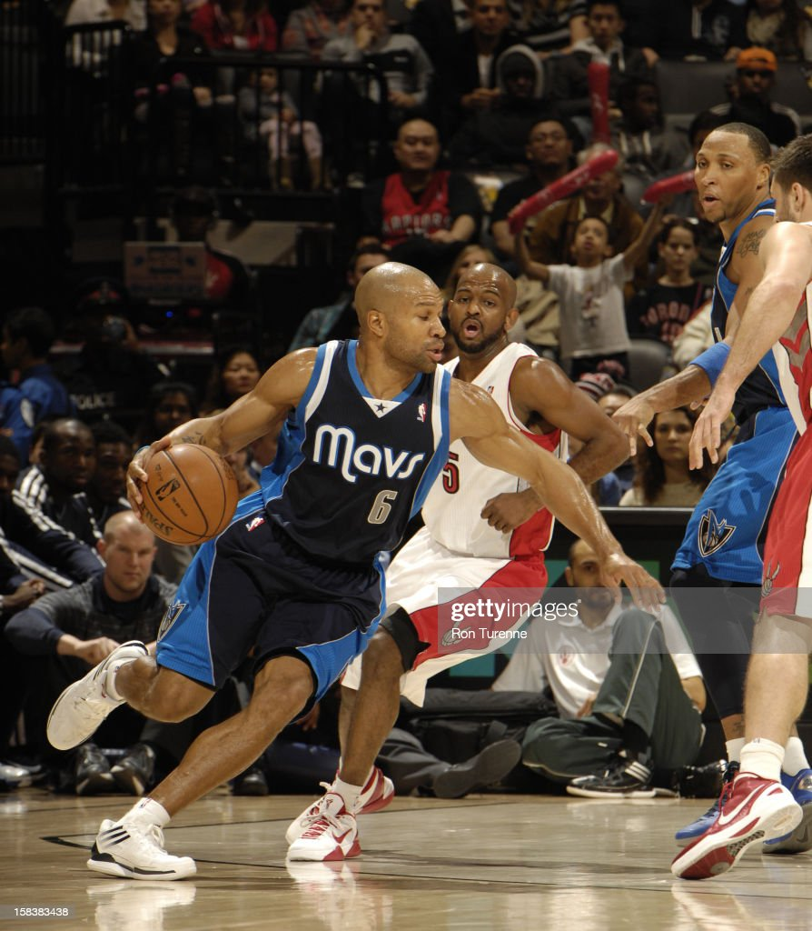 <a gi-track='captionPersonalityLinkClicked' href=/galleries/search?phrase=Derek+Fisher&family=editorial&specificpeople=201724 ng-click='$event.stopPropagation()'>Derek Fisher</a> #6 of the Dallas Mavericks drives to the basket against the Toronto Raptors on December 14, 2012 at the Air Canada Centre in Toronto, Ontario, Canada.