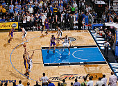 Derek Fisher of the Los Angeles Lakers shoots a gametying threepointer against Jameer Neslon of the Orlando Magic during Game Four of the 2009 NBA...
