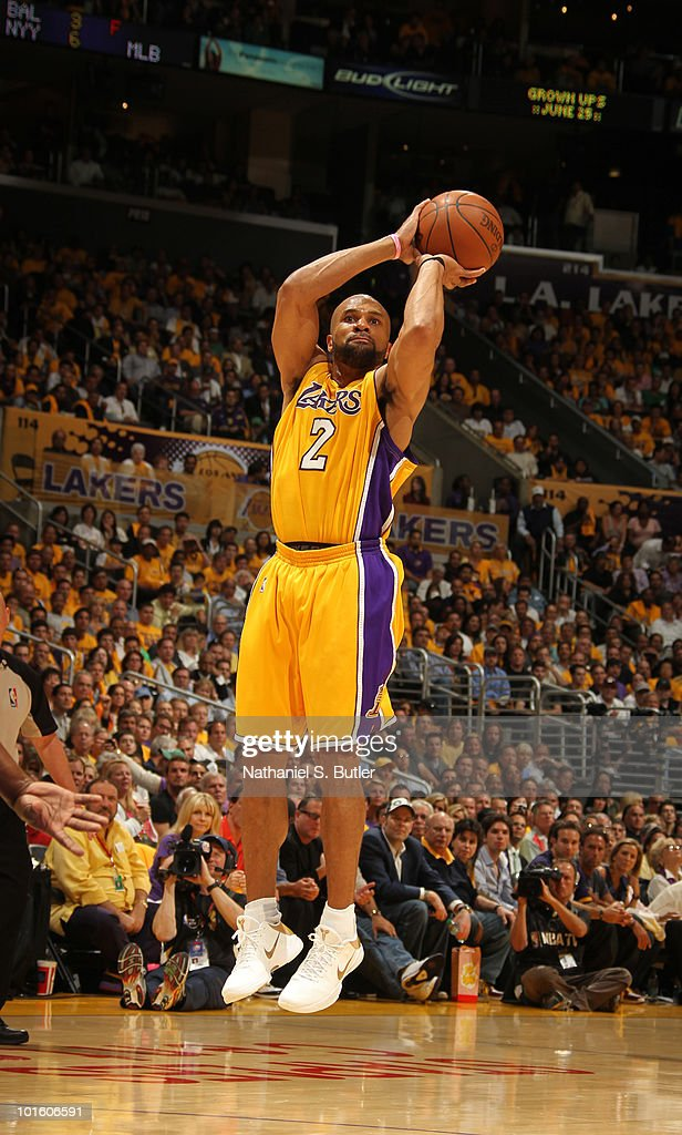 <a gi-track='captionPersonalityLinkClicked' href=/galleries/search?phrase=Derek+Fisher&family=editorial&specificpeople=201724 ng-click='$event.stopPropagation()'>Derek Fisher</a> #2 of the Los Angeles Lakers shoots against the Boston Celtics in Game One of the 2010 NBA Finals on June 3, 2010 at Staples Center in Los Angeles, California.