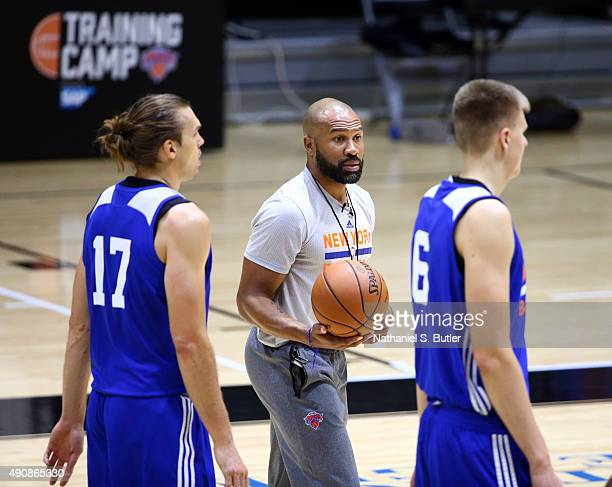 Derek Fisher of the New York Knicks coaches at practice on September 30 2015 at West Point NOTE TO USER User expressly acknowledges and agrees that...