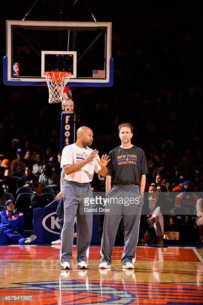 Derek Fisher of the New York Knicks during open practice at the Madison Square Garden on October 26 2014 in New York City New York NOTE TO USER User...