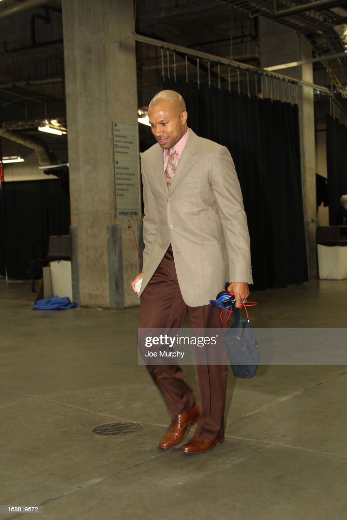 Derek Fisher #6 of the Oklahoma City Thunder arrives before Game Five of the Western Conference Semifinals against the Memphis Grizzlies during the 2013 NBA Playoffs on May 15, 2013 at the Chesapeake Energy Arena in Oklahoma City, Oklahoma.