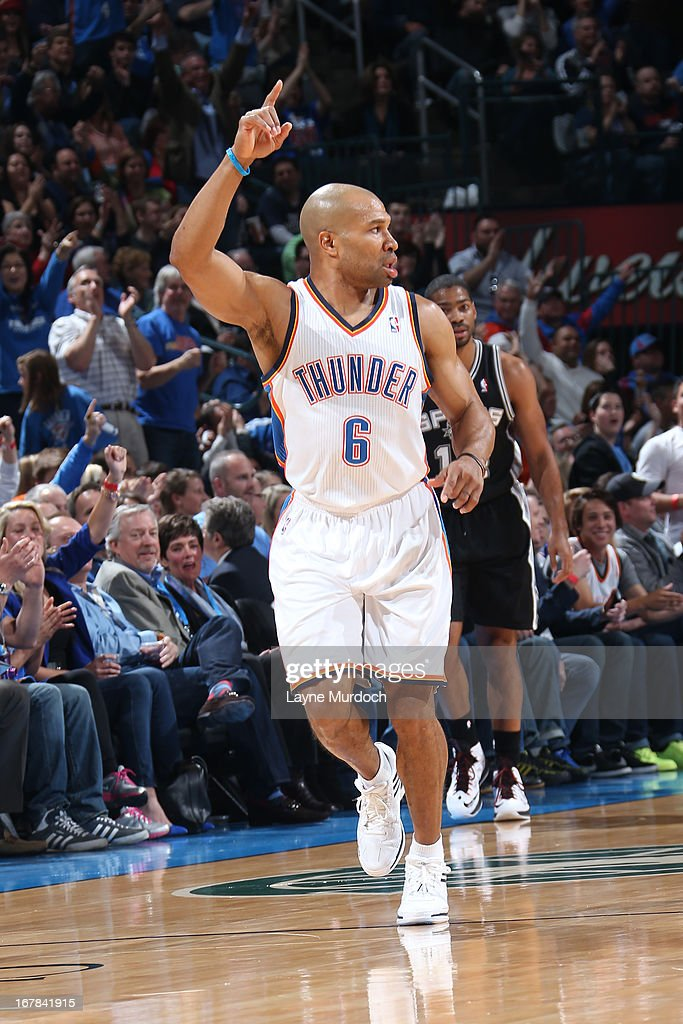 <a gi-track='captionPersonalityLinkClicked' href=/galleries/search?phrase=Derek+Fisher&family=editorial&specificpeople=201724 ng-click='$event.stopPropagation()'>Derek Fisher</a> #6 of the Oklahoma City Thunder celebrates a shot against the San Antonio Spurs on April 4, 2013 at the Chesapeake Energy Arena in Oklahoma City, Oklahoma.