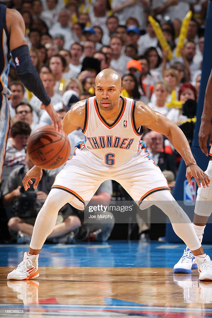 <a gi-track='captionPersonalityLinkClicked' href=/galleries/search?phrase=Derek+Fisher&family=editorial&specificpeople=201724 ng-click='$event.stopPropagation()'>Derek Fisher</a> #6 of the Oklahoma City Thunder defends against the Memphis Grizzlies in Game Two of the Western Conference Semifinals during the 2013 NBA Playoffs on May 7, 2013 at the Chesapeake Energy Arena in Oklahoma City, Oklahoma.