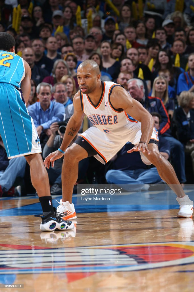 Derek Fisher #6 of the Oklahoma City Thunder defends against the New Orleans Hornets on February 27, 2013 at the Chesapeake Energy Arena in Oklahoma City, Oklahoma.