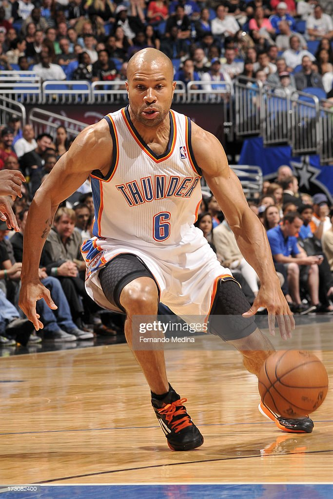 <a gi-track='captionPersonalityLinkClicked' href=/galleries/search?phrase=Derek+Fisher&family=editorial&specificpeople=201724 ng-click='$event.stopPropagation()'>Derek Fisher</a> #6 of the Oklahoma City Thunder drives against the Orlando Magic on March 22, 2013 at Amway Center in Orlando, Florida.