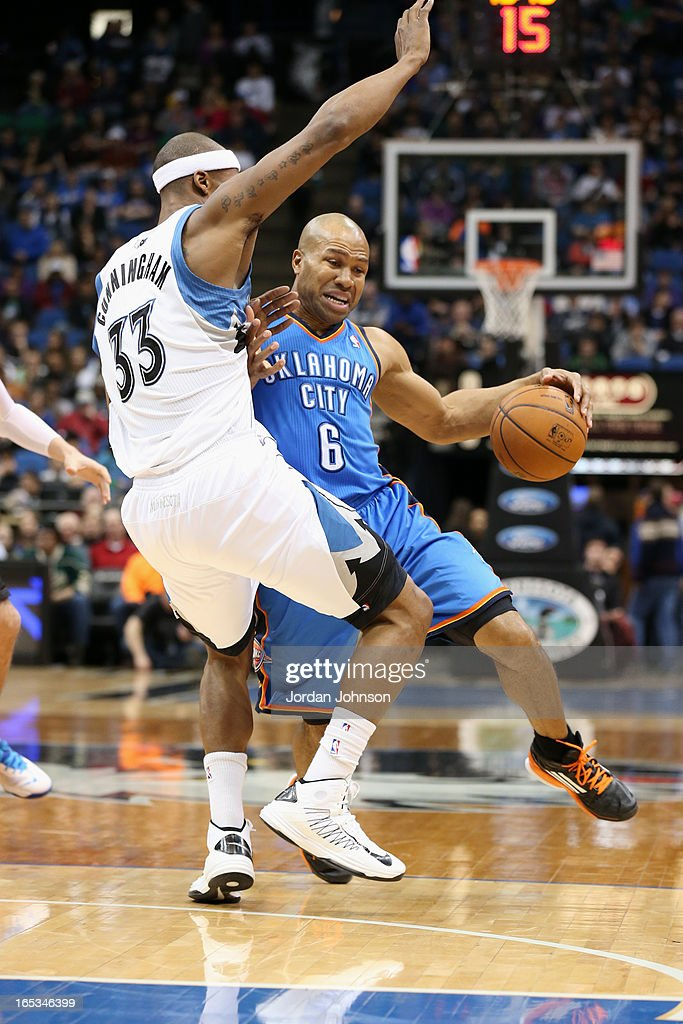 <a gi-track='captionPersonalityLinkClicked' href=/galleries/search?phrase=Derek+Fisher&family=editorial&specificpeople=201724 ng-click='$event.stopPropagation()'>Derek Fisher</a> #6 of the Oklahoma City Thunder drives around the basket against the Minnesota Timberwolves on March 29, 2013 at Target Center in Minneapolis, Minnesota.