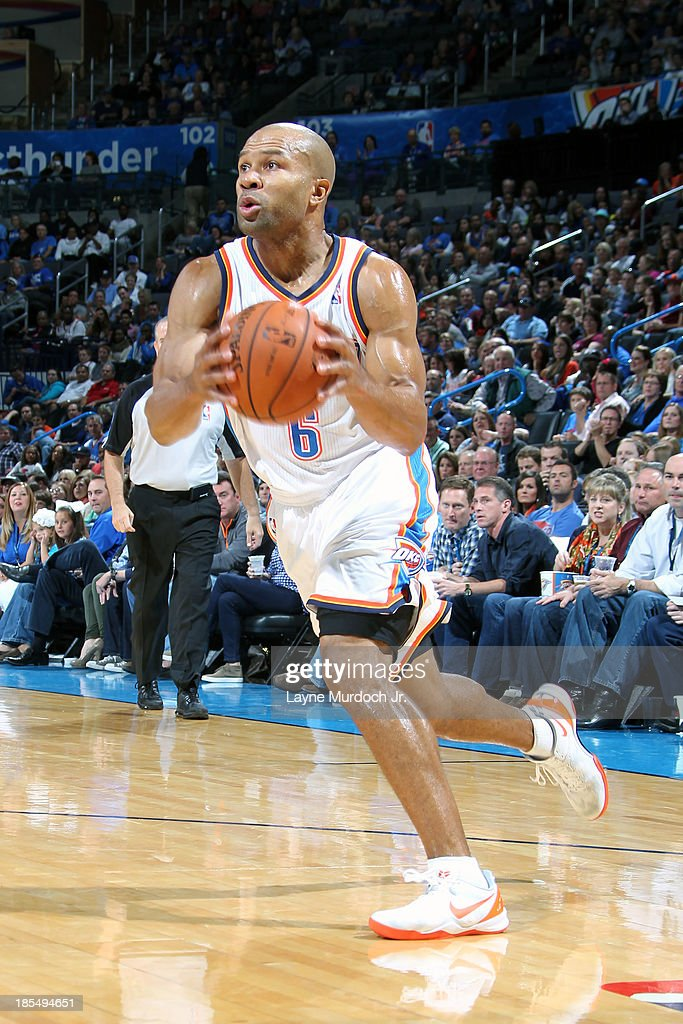 <a gi-track='captionPersonalityLinkClicked' href=/galleries/search?phrase=Derek+Fisher&family=editorial&specificpeople=201724 ng-click='$event.stopPropagation()'>Derek Fisher</a> #6 of the Oklahoma City Thunder drives to the basket against the Utah Jazz during an NBA preseason game on October 20, 2013 at the Chesapeake Energy Arena in Oklahoma City, Oklahoma.