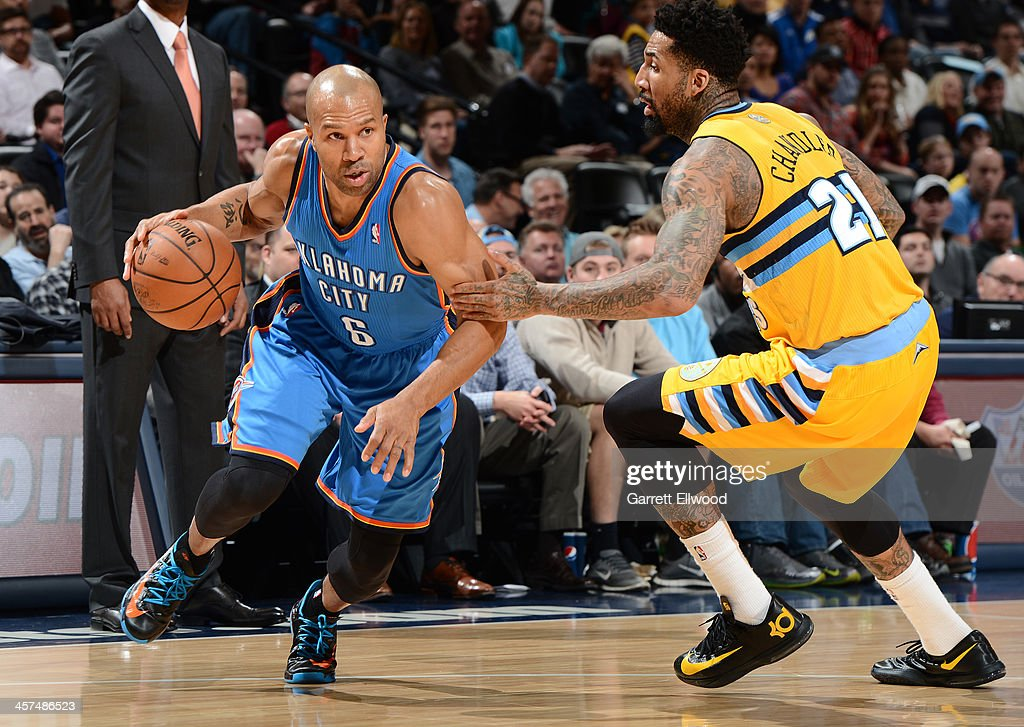 <a gi-track='captionPersonalityLinkClicked' href=/galleries/search?phrase=Derek+Fisher&family=editorial&specificpeople=201724 ng-click='$event.stopPropagation()'>Derek Fisher</a> #6 of the Oklahoma City Thunder drives to the basket against the Denver Nuggets on December 17, 2013 at the Pepsi Center in Denver, Colorado.
