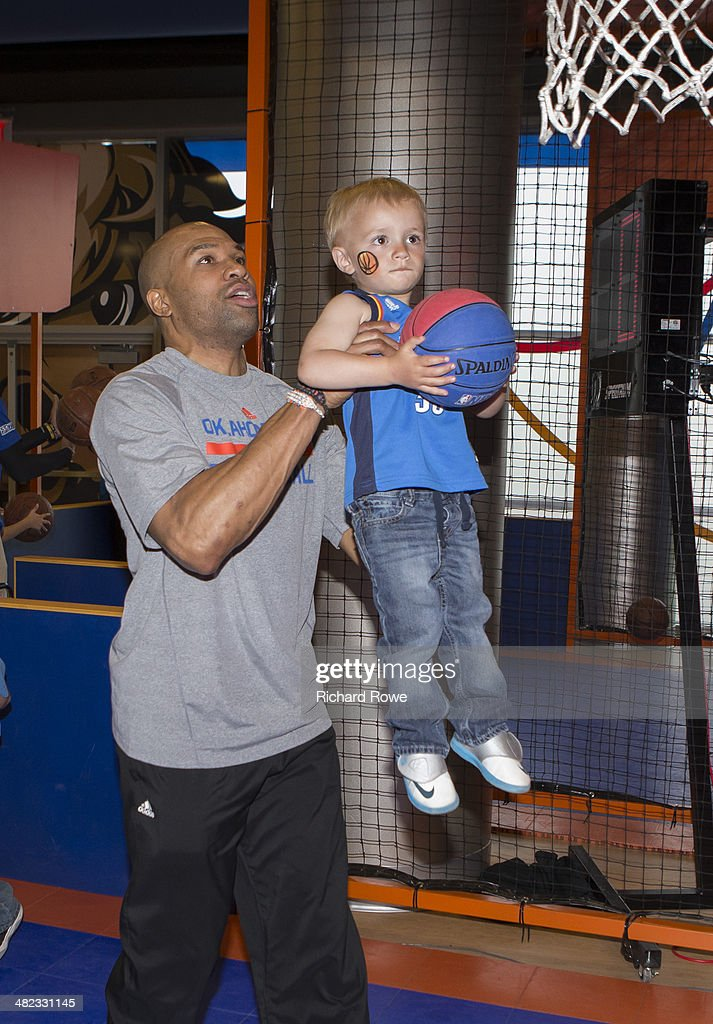 Derek Fisher #6 of the Oklahoma City Thunder during the annual season ticket holder event at the Chesapeake Arena on March 30, 2014 in Oklahoma City, Oklahoma.