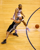 Derek Fisher of the Oklahoma City Thunder fouls Manu Ginobili of the San Antonio Spurs in the second half during Game Six of the Western Conference...