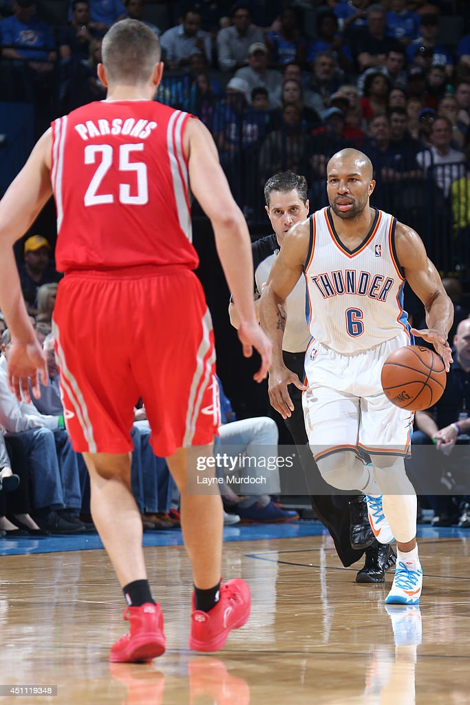 <a gi-track='captionPersonalityLinkClicked' href=/galleries/search?phrase=Derek+Fisher&family=editorial&specificpeople=201724 ng-click='$event.stopPropagation()'>Derek Fisher</a> #6 of the Oklahoma City Thunder handles the ball against the Houston Rockets during an NBA game on March 11, 2014 at the Chesapeake Energy Arena in Oklahoma City, Oklahoma.