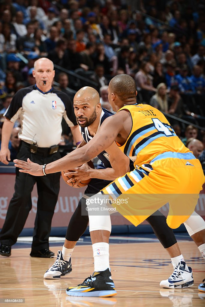 <a gi-track='captionPersonalityLinkClicked' href=/galleries/search?phrase=Derek+Fisher&family=editorial&specificpeople=201724 ng-click='$event.stopPropagation()'>Derek Fisher</a> #6 of the Oklahoma City Thunder handling the ball during a game against the Denver Nuggets on January 9, 2014 at the Pepsi Center in Denver, Colorado.