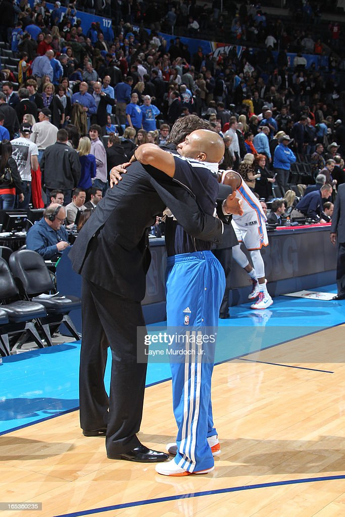 <a gi-track='captionPersonalityLinkClicked' href=/galleries/search?phrase=Derek+Fisher&family=editorial&specificpeople=201724 ng-click='$event.stopPropagation()'>Derek Fisher</a> #6 of the Oklahoma City Thunder hugs his former coach during the game against the Los Angeles Lakers on March 05, 2013 at the Chesapeake Energy Arena in Oklahoma City, Oklahoma.