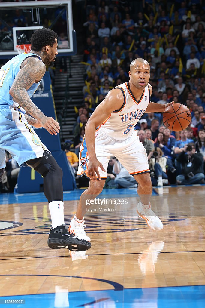 Derek Fisher #6 of the Oklahoma City Thunder looks to drive to drive to the basket against the Denver Nuggets on March 19, 2013 at the Chesapeake Energy Arena in Oklahoma City, Oklahoma.