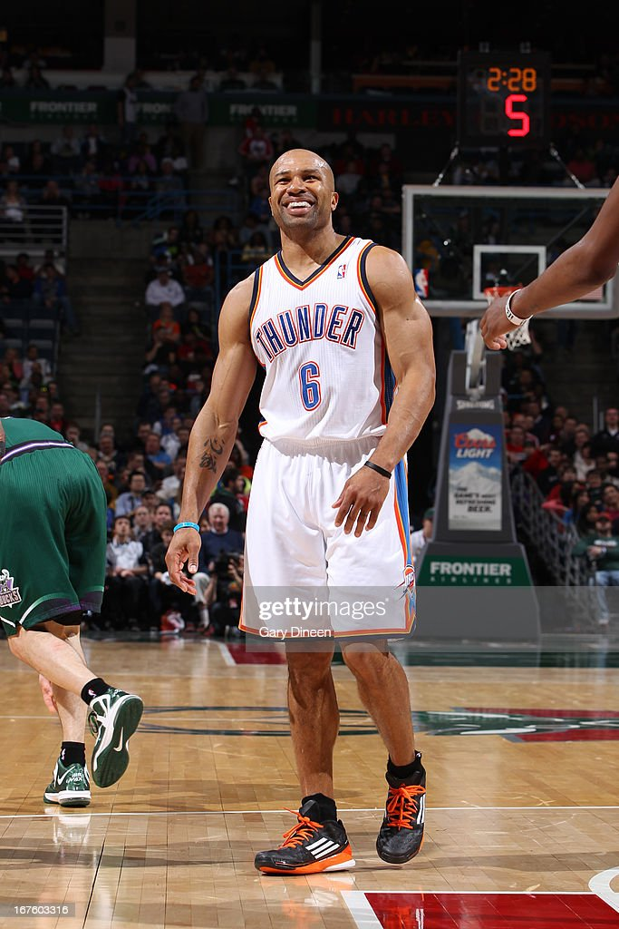 <a gi-track='captionPersonalityLinkClicked' href=/galleries/search?phrase=Derek+Fisher&family=editorial&specificpeople=201724 ng-click='$event.stopPropagation()'>Derek Fisher</a> #6 of the Oklahoma City Thunder reacts during the game against the Milwaukee Bucks on March 30, 2013 at the BMO Harris Bradley Center in Milwaukee, Wisconsin.