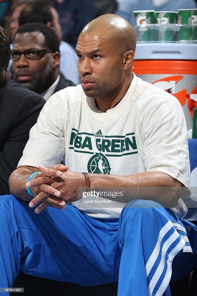 <a gi-track='captionPersonalityLinkClicked' href=/galleries/search?phrase=Derek+Fisher&family=editorial&specificpeople=201724 ng-click='$event.stopPropagation()'>Derek Fisher</a> #6 of the Oklahoma City Thunder sits on the bench during the game against the San Antonio Spurs on April 4, 2013 at the Chesapeake Energy Arena in Oklahoma City, Oklahoma.