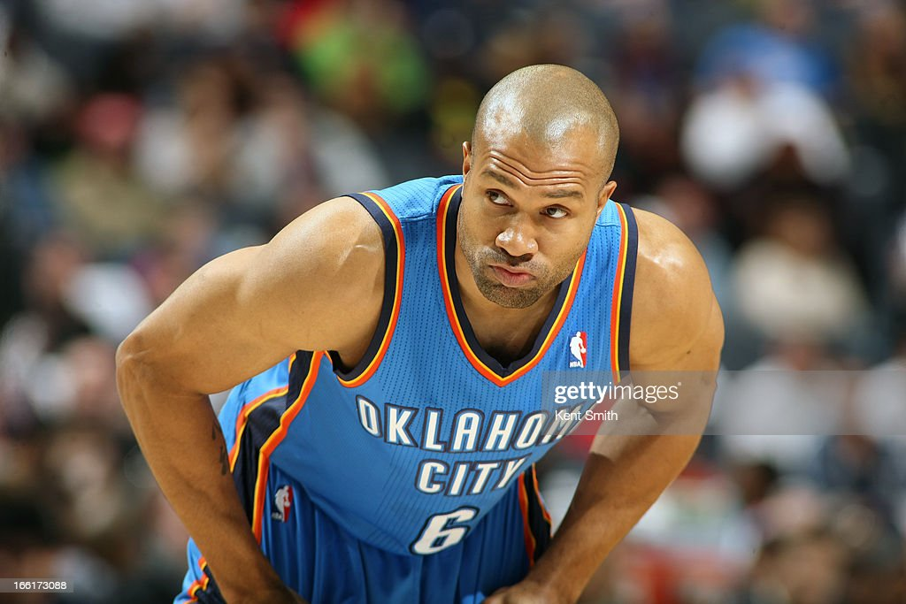 <a gi-track='captionPersonalityLinkClicked' href=/galleries/search?phrase=Derek+Fisher&family=editorial&specificpeople=201724 ng-click='$event.stopPropagation()'>Derek Fisher</a> #6 of the Oklahoma City Thunder stands on the court during the game against the Charlotte Bobcats at the Time Warner Cable Arena on March 8, 2013 in Charlotte, North Carolina.