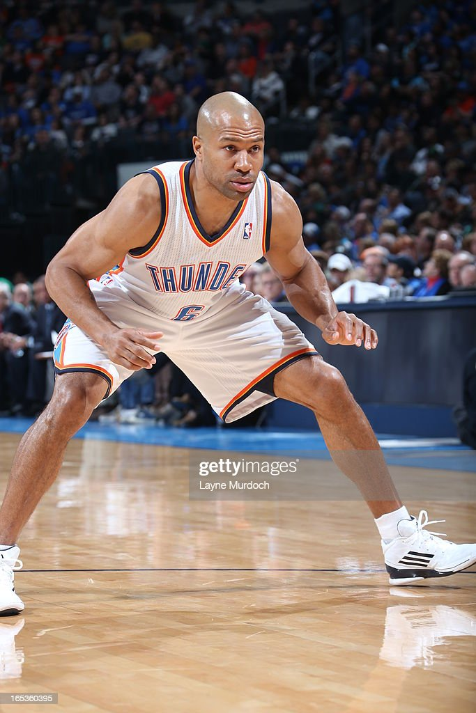 Derek Fisher #6 of the Oklahoma City Thunder stretches before the game against the Boston Celtics on March 10, 2013 at the Chesapeake Energy Arena in Oklahoma City, Oklahoma.