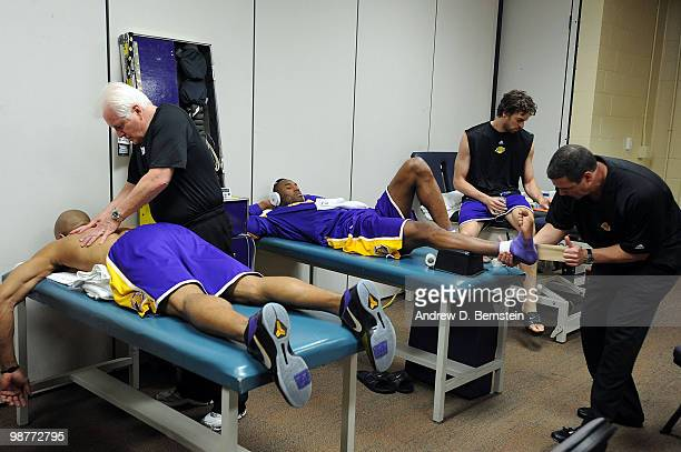 Derek Fisher Pau Gasol and Kobe Bryant of the Los Angeles Lakers in the locker room before the game against the Oklahoma City Thunder in Game Six of...