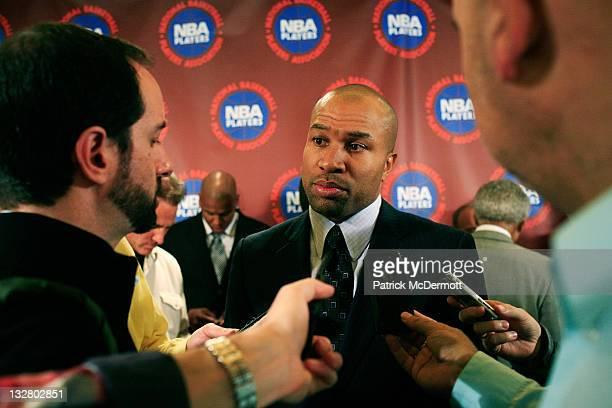 Derek Fisher President of the National Basketball Players Association speaks to the media after a press conference after National Basketball Players...